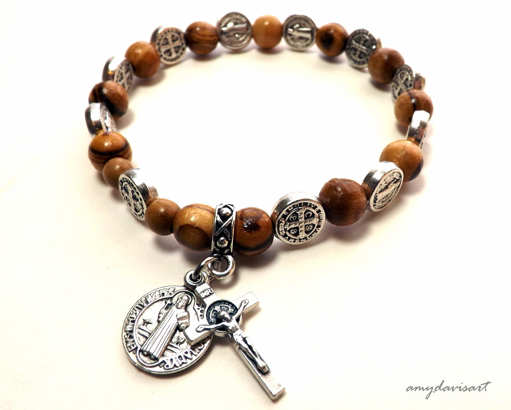 St Benedict Rosary Bracelet Handmade With Olive Wood Beads Amy Davis Art