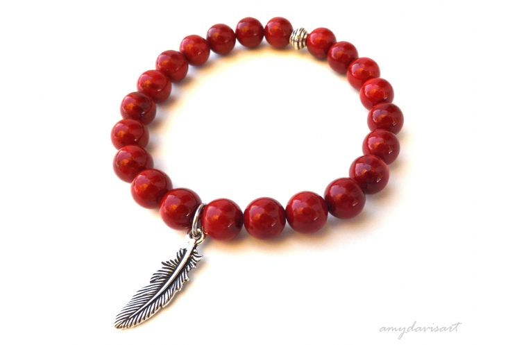 Feather charm stacking bracelet
