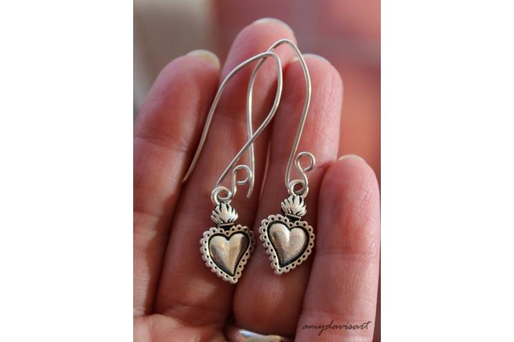 Heart earrings on sterling silver earwires