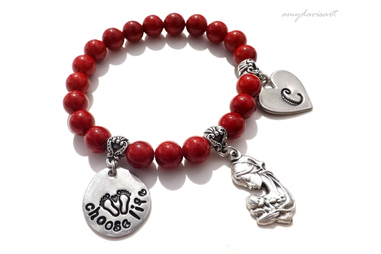 Mother child charm bracelet