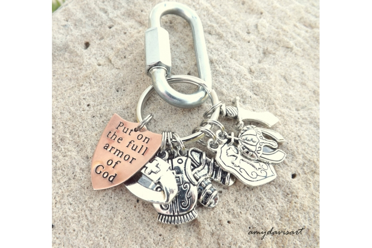 Full Armor of God Christian Keychain with hand stamped copper shield