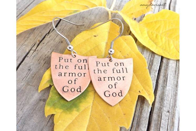 Christian earrings: Put on the full armor of God