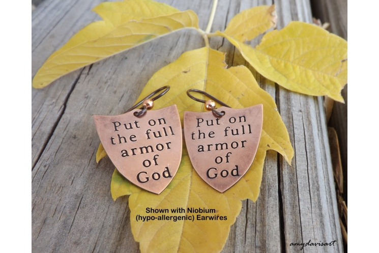Copper earrings with scripture verse Ephesians 6