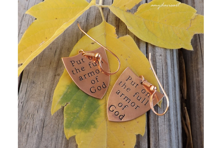 Christian jewelry for her full armor of God earrings