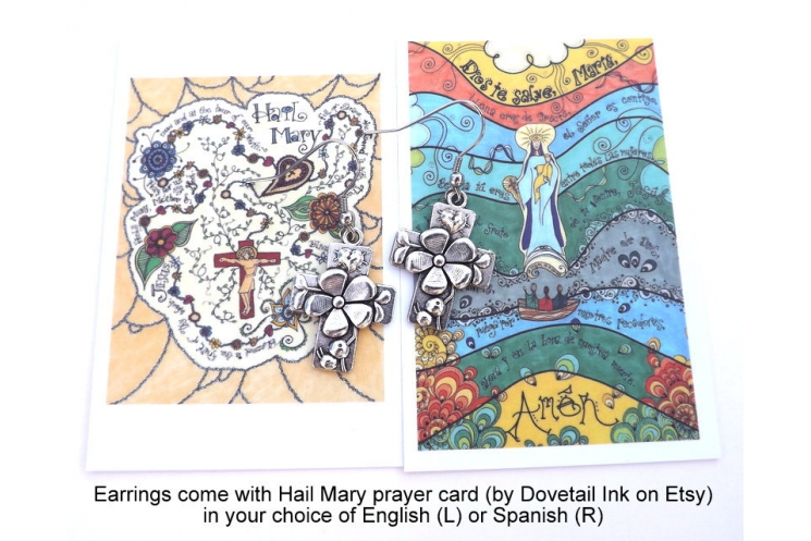 Hail Mary prayer card in English or Spanish