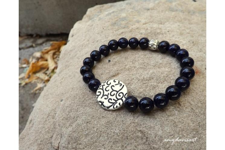 Purple beaded bracelet, stretch bracelet for women