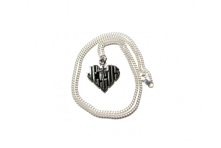 Jesus heart sterling silver neckalce