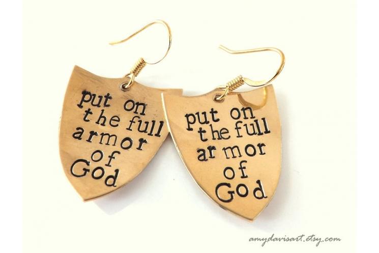 Shield of faith brass earrings