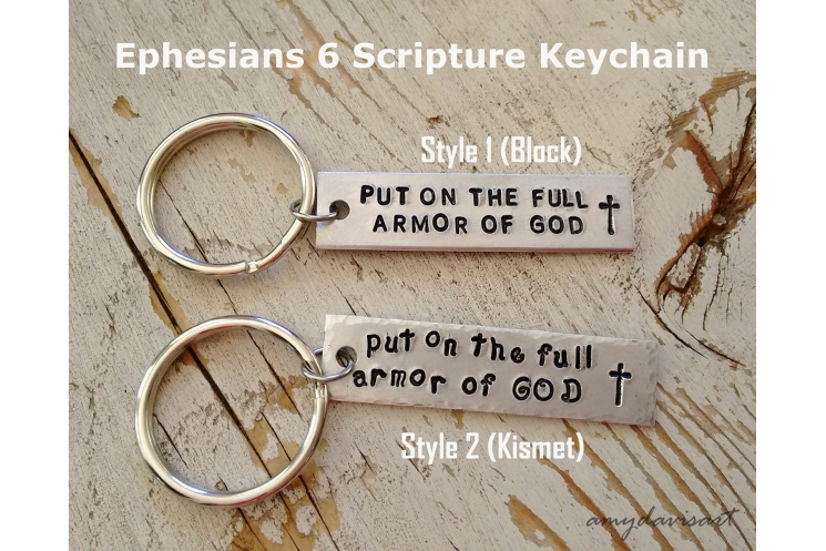 Put on the full armor of God Christian keychain