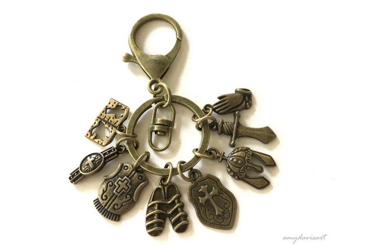 Armor of God Keychain in Bronze