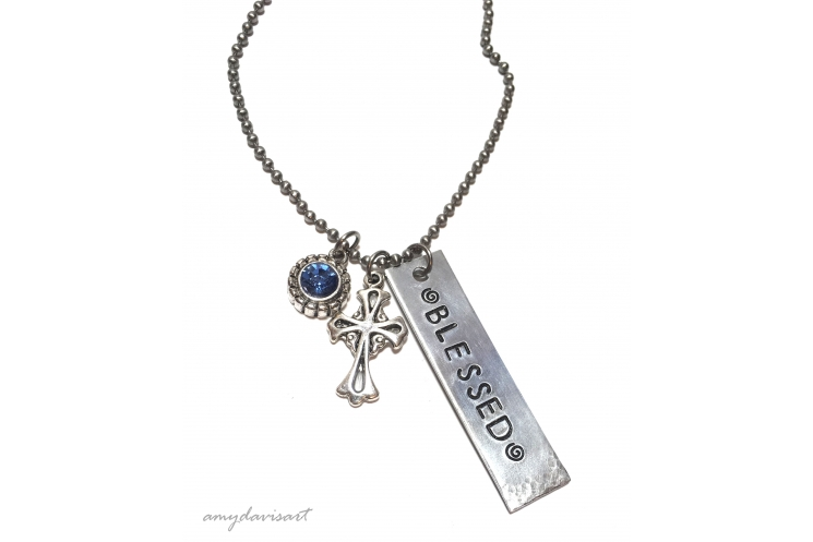 Blessed pendant Christian jewelry with cross and blue crystal charm