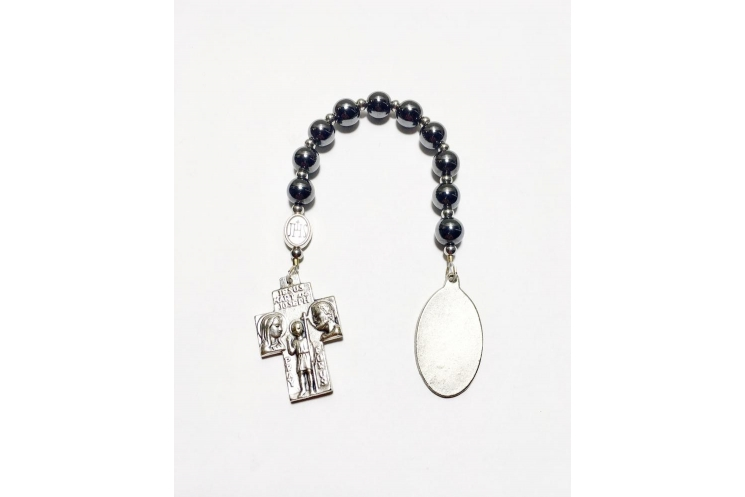 St Christopher Black Hematite Bead Rosary