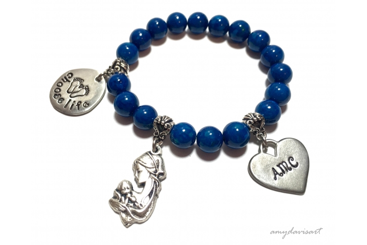 Choose Life Bracelet with Blue Beads