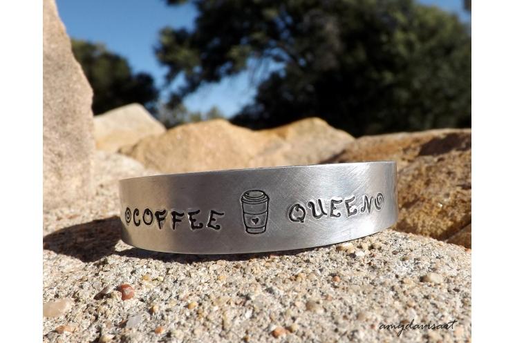 Coffee queen handstamped bracelet