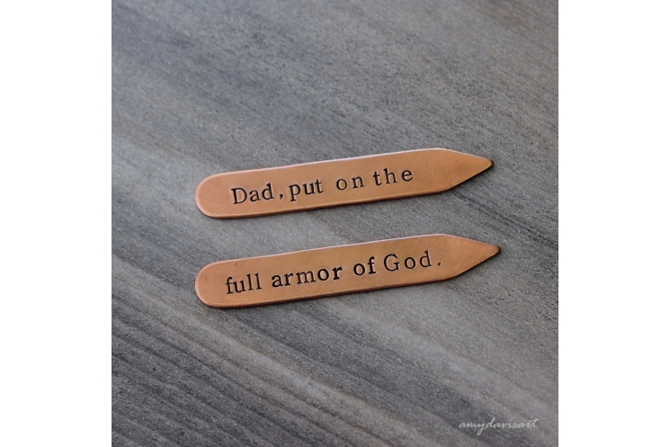 Put on the full armor of God copper collar stays