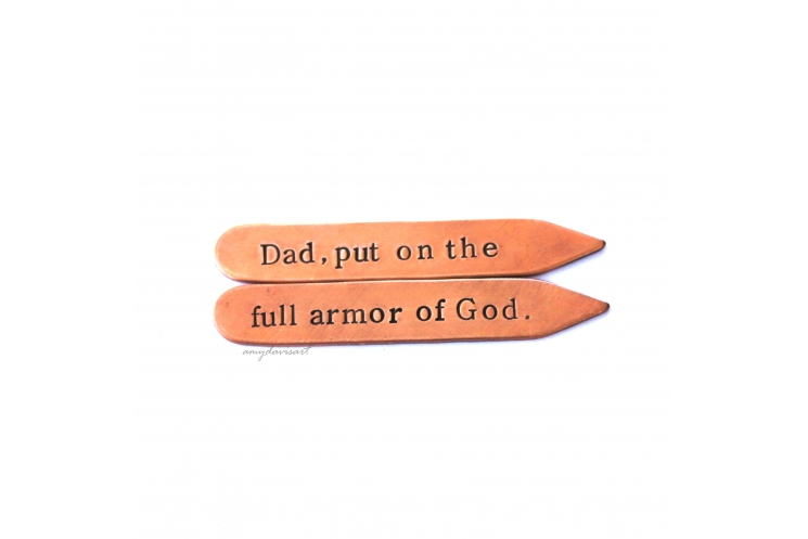 Collar stays for men with Ephesians 6 Bible Verse