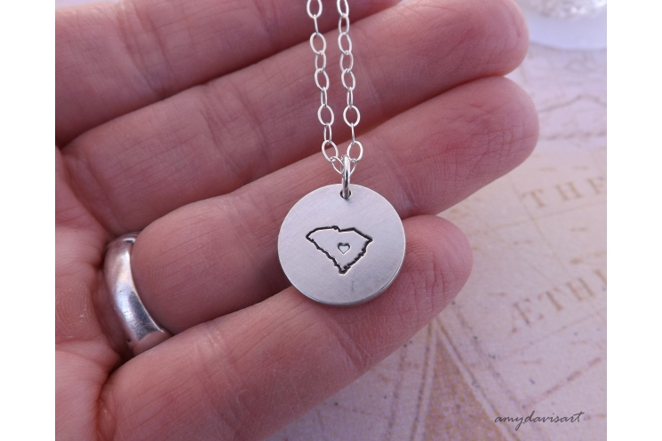 State necklace in sterling silver