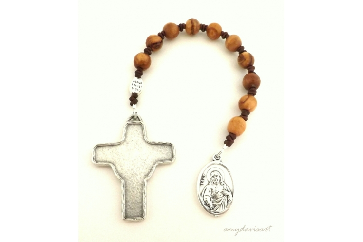 Olive wood rosary beads from the Holy Land on this one decade rosary