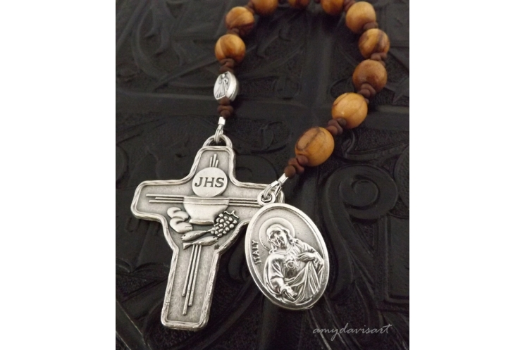 Catholic Rosary with First Communion Cross