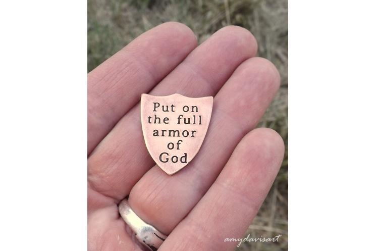 Put on the full armor of God pocket token in copper