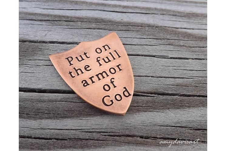 Christian pocket coin for men Ephesians 6 put on the full armor of God