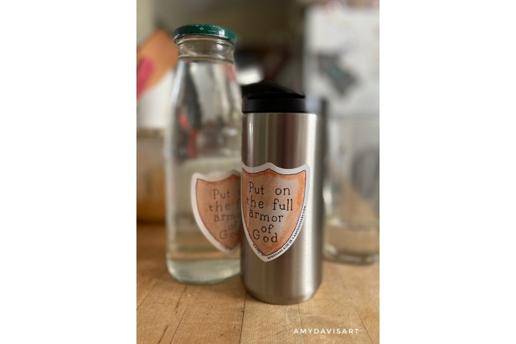 Armor of God Decal shown on tumbler and water bottle