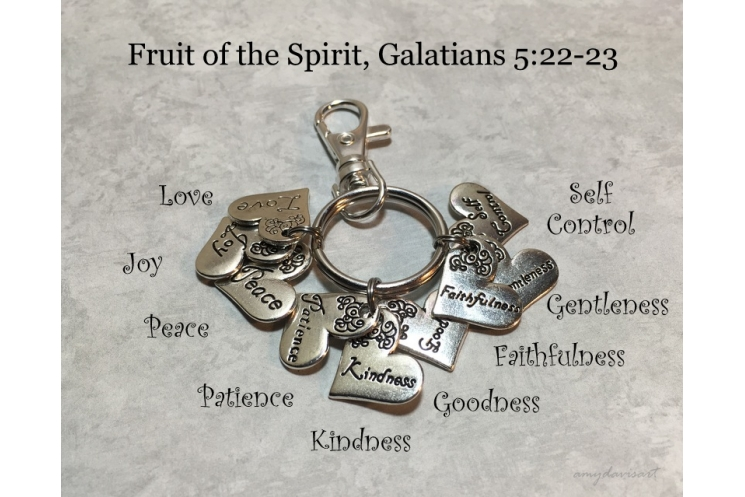 Fruit of the Spirit Christian Keychain or Purse Charm (Galatians 5 Scripture)