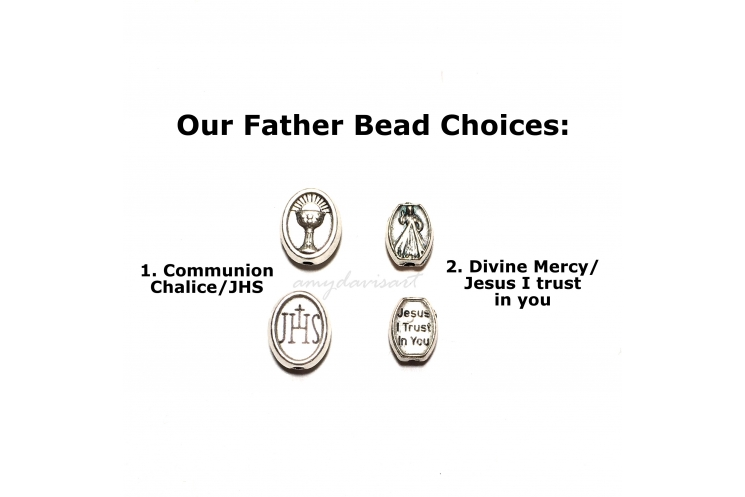 Our Father bead with communion bread and chalice or Divine Mercy bead