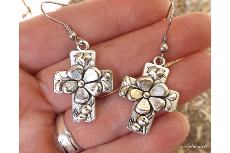 Catholic Jewelry Ave Maria Earrings