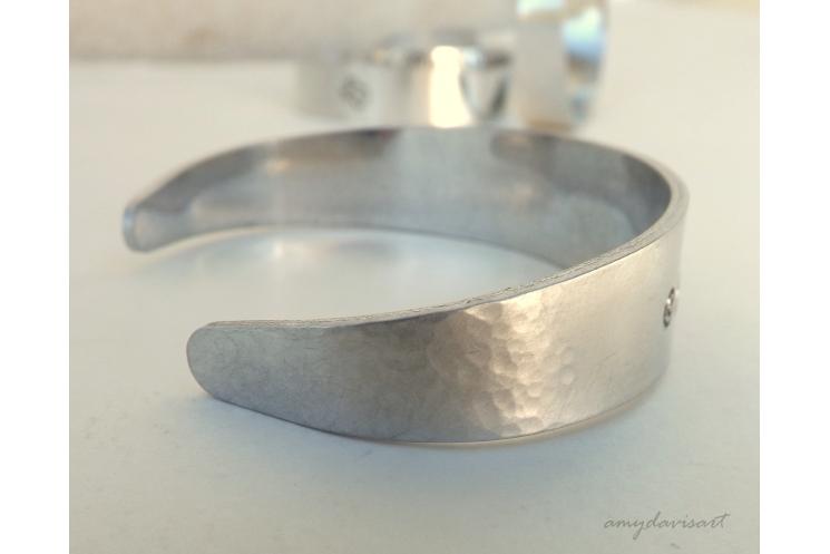 Textured aluminum cuff bracelet