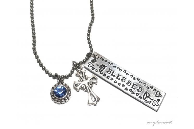 Blessed Christian Necklace with cross charm and blue crystal charm