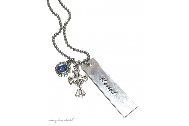 Christian Necklace with blessed, cross and blue crystal charm