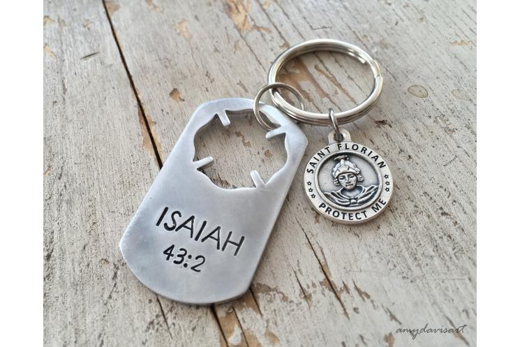 St Florian Medal Keychain