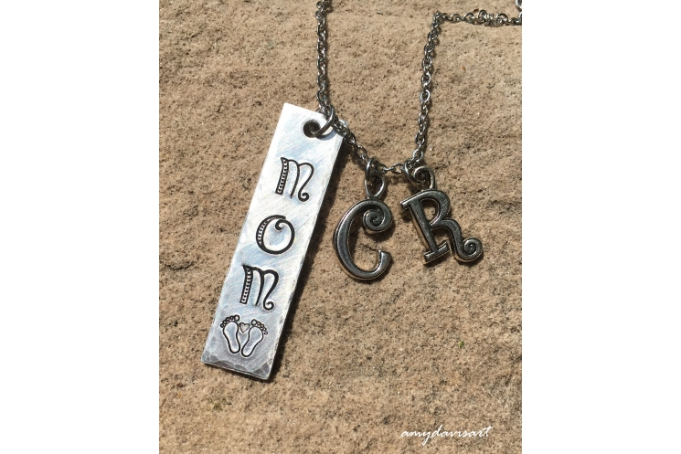 Gift for new mom necklace with baby feet and initial charms