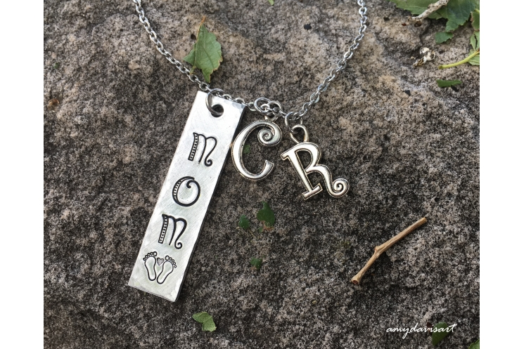 Mom necklace with initial charms baby feet
