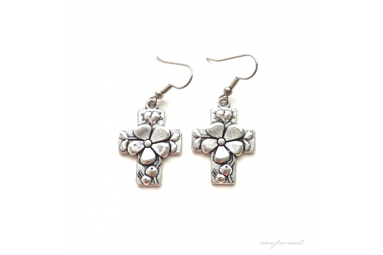 Silver cross earrings Hail Mary Catholic jewelry