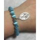 Miraculous Medal Bracelet with turquoise blue cat's eye beads