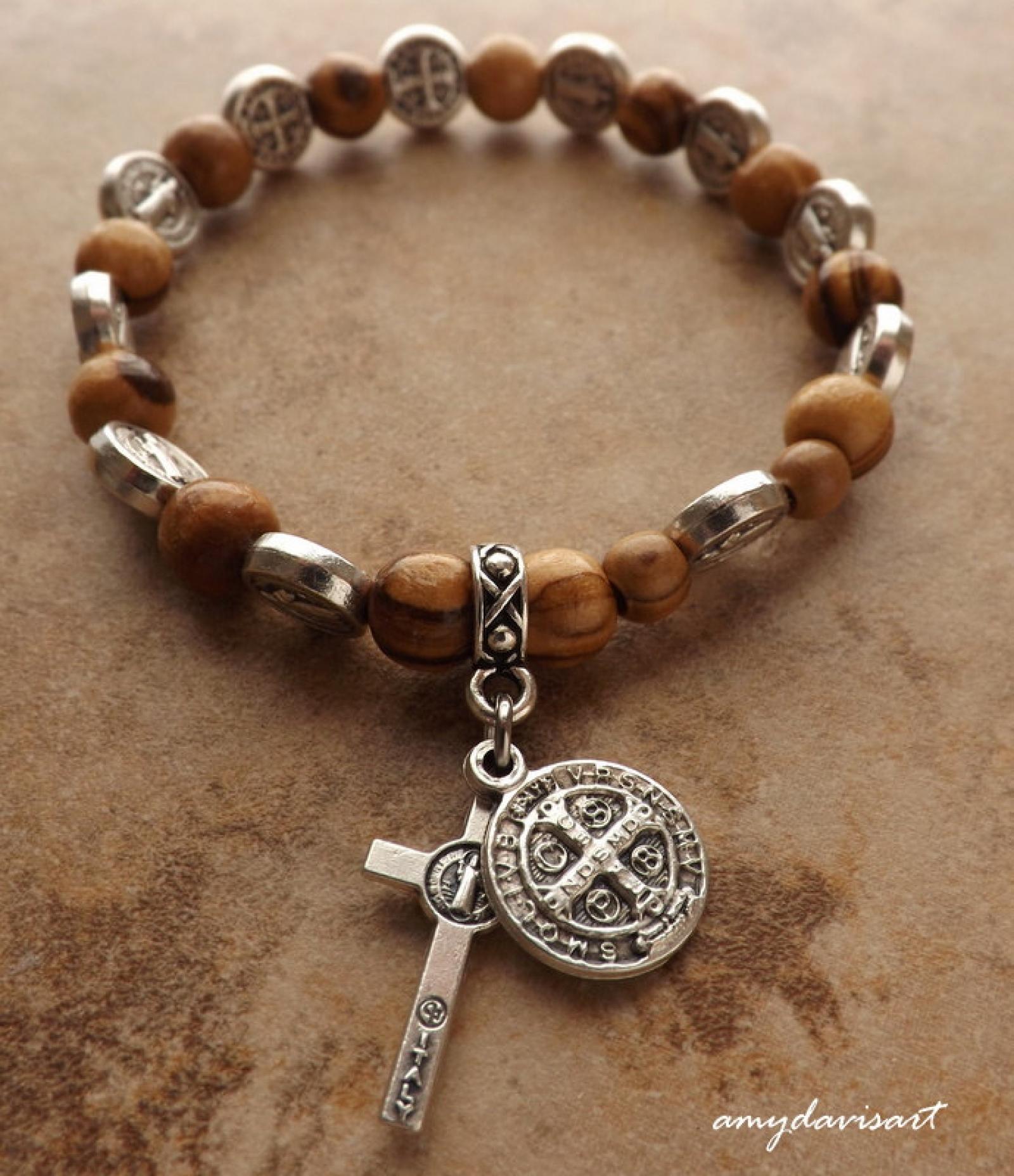 St Benedict Olive Wood Rosary Bracelet Catholic
