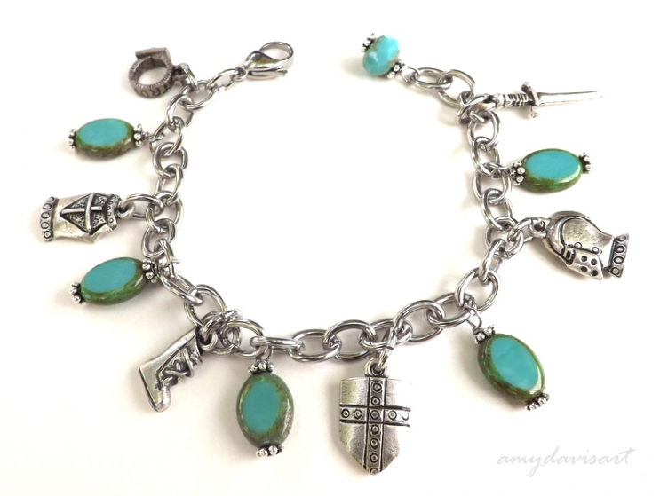 Christian Charm Bracelet with oval Czech Glass Beads in Turquoise (15.05)