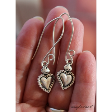 Milagro Heart Earrings (Sacred Heart Jewelry)