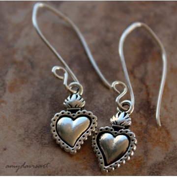 SOLD OUT - Milagro Heart Earrings (Sacred Heart Jewelry)