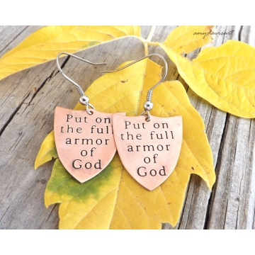 Armor Of God Earrings Ephesians 6 Christian Jewelry (Copper Shield Earrings)