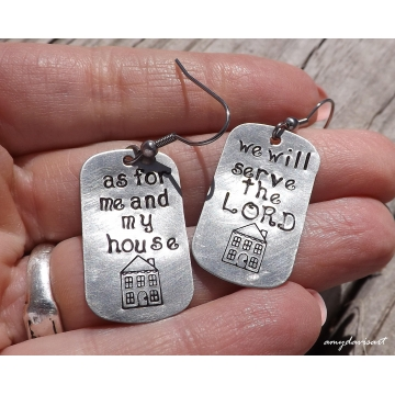As for me and my house we will serve the Lord ~ Joshua 24:15 Handstamped Christian Jewelry