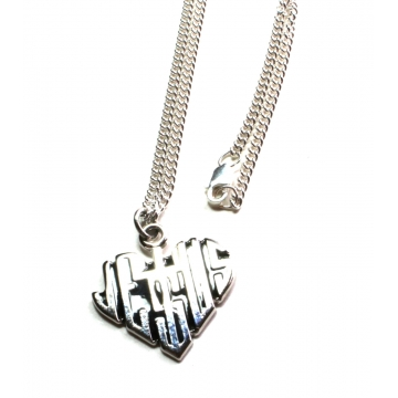 Heart Shaped Jesus Necklace (Sterling Silver)