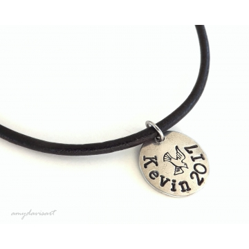 Confirmation Necklace Personalized with Name and Confirmation Year; Made on Leather Cord (Christian Jewelry ~ Confirmation Gift)
