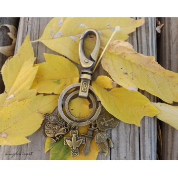 Armor of God Keychain in Bronze, Ephesians 6 Christian Keychain, Large Oval Clasp