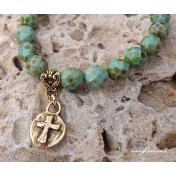 Rustic Cross Bracelet with Turquoise Green Beads ~ Christian Jewelry for Women
