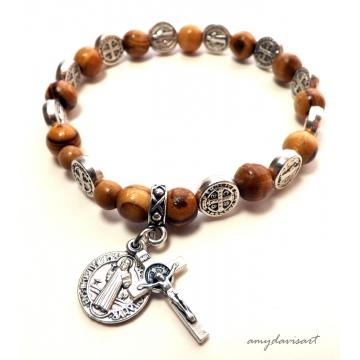 St Benedict Olive Wood Rosary Bracelet (Catholic Rosary)