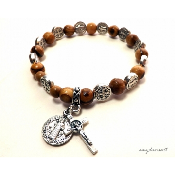 St Benedict Olive Wood Rosary Bracelet (Catholic Jewelry)