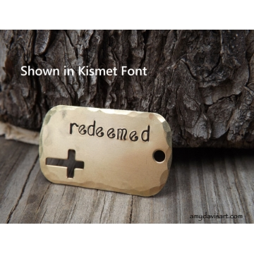 Redeemed Christian Necklace - Confirmation Gift  (Handstamped Christian Jewelry)